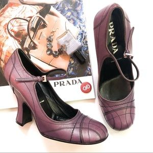 Prada Retro Pinup Violet Leather Mary Jane Heels
